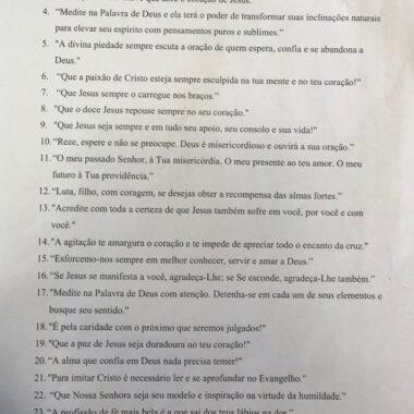 Frases propostas por Frei Evandro para exercício espiritual